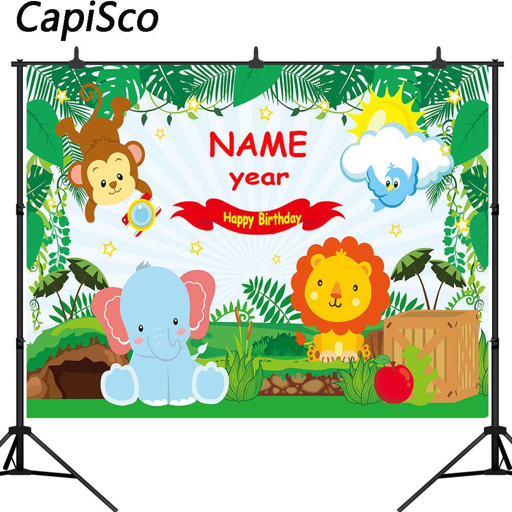 Capisco Jungle Safari Fotoğraf Arka Plan Hayvanlar Orman Fotoğraf Backdrop Bebek 1 Doğum Günü Partisi Afiş Dekorasyon özelleştirilmiş