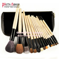 HOT! Professional 15 PCS Marca Cosméticos Marca Facial up Kit Escova Lã Makeup Brushes Set Tools com Caso Zipper Luxo