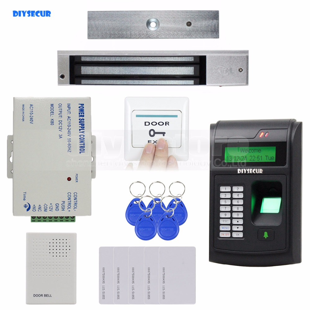 DIYSECUR Remote Control 125KHz RFID LCD Fingerprint Keypad ID Card Reader Access Control System Kit + 280kg Magnetic Lock