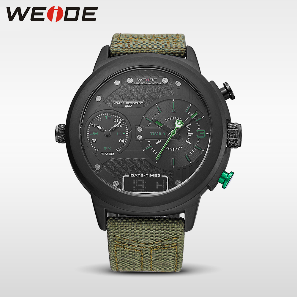 WEIDE 2017 new fashion casual genuine nylon Men's sports watches wrist watch Army clock waterproof large dial mechanical watches np shock resistant waterproof watch men 2016 new nylon sport watches ultra slim watchcase men s fashion clock large white dial