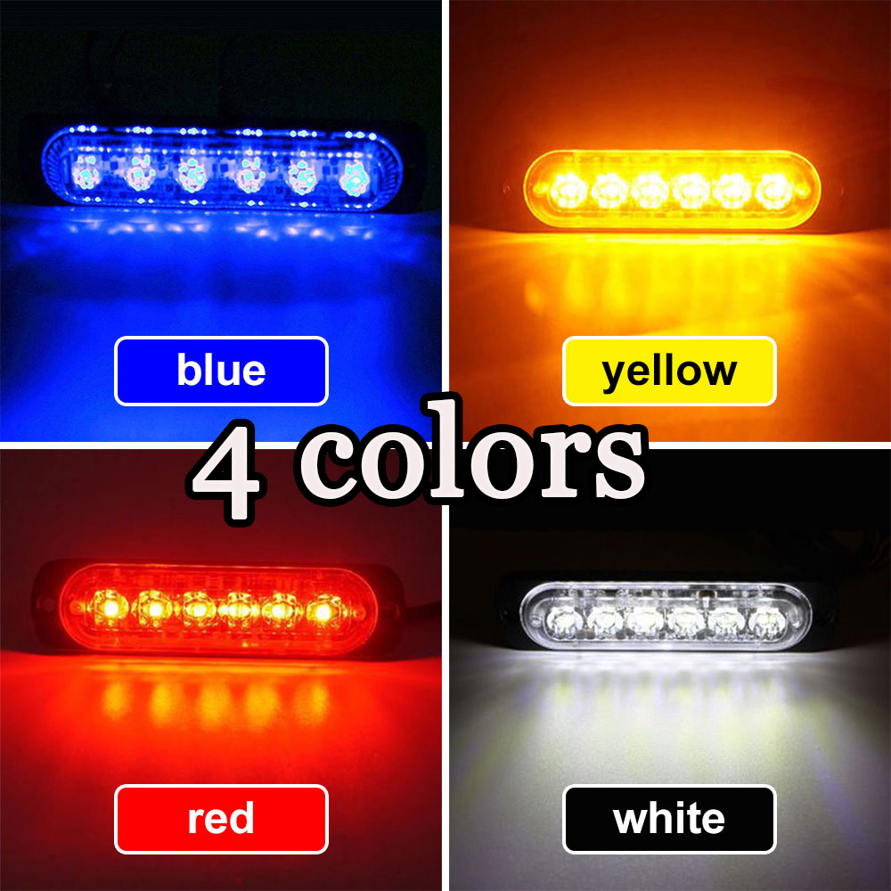 Universal 12-24V 18W 6 LED Car Truck Emergency Beacon Strobe Warning Light Hazard Flash Light Traffic Light Grille Flashing Ligh