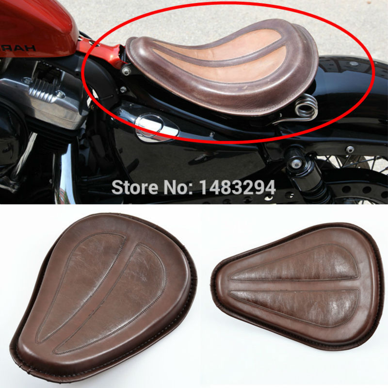Golden Spring Brown Leather Solo Seat W/ Brackets Fits For Harley Sportster 883 1200 XL Bobber Chopper Custom New