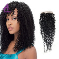 2 Pcs Brazilian Jerry Curly Closure 7A Brazilian Virgin Hair Lace Closure  Unprocessed Brazilian Human Hair Closure Free Ship