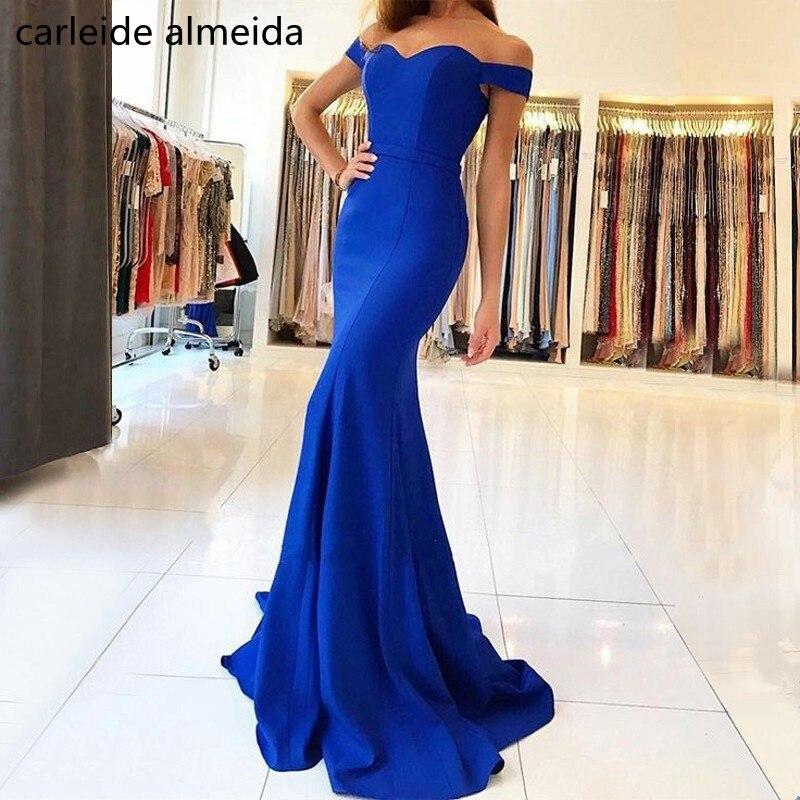 Robe de soiree Off-the-Shoulder Mermaid Evening Dress Sweep Train Royal Blue Formal Dress Women Simple Abendkleider 2018