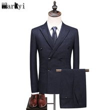 MarKyi fashion double breasted striped mens italian suit  plus size 5xl classic suits designer clothes 3 pieces
