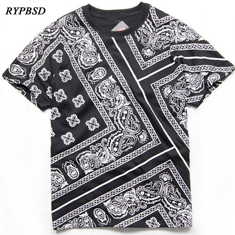 Bandana Shirt Cotton West Cashew T-shirt Bandana 2019 Heren Koreaanse Fashion Streetwear Camisa Hip Hop Bandana T-shirt 3 kleuren