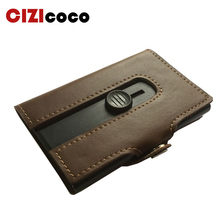 2019 New Style Genuine Leather Card Holder Fashion Smart Wallet HASP Mini Aluminium Credit Bag For Men