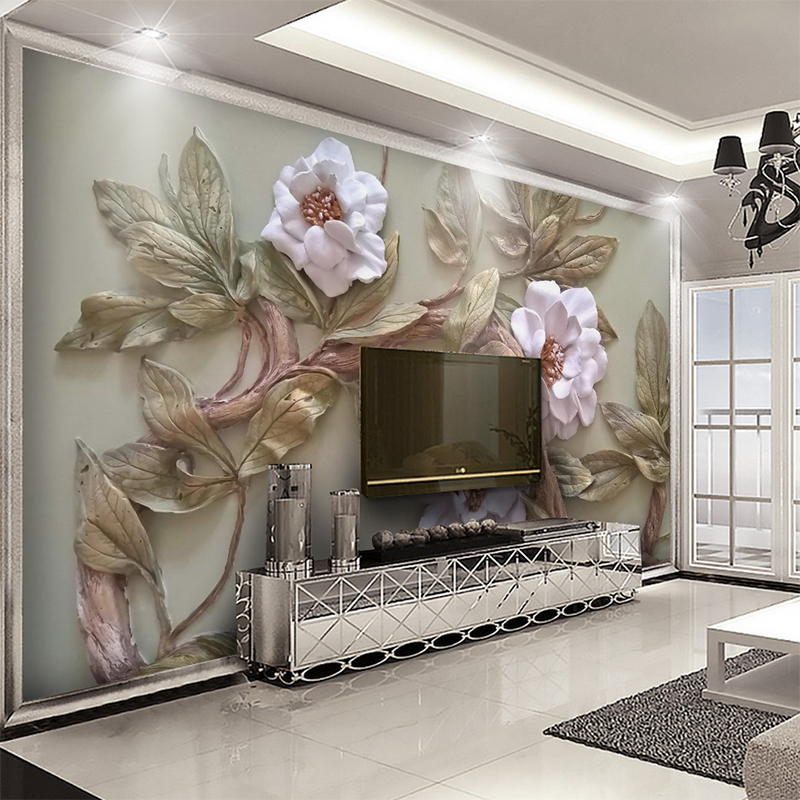 Custom 3D Stereoscopic Relief Flower Tree Canvas Wall Cloth Living Room TV Sofa Background Decor Mural Wall Paper Wall Covering