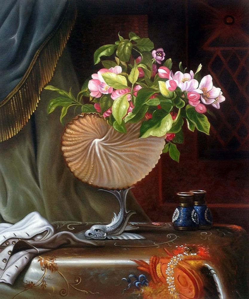 Kitchen Painting Wall Decoration Art Painting Still Life with Apple Blossoms in a Nautilus Shell, 1870 by Martin Johnson HeadeKitchen Painting Wall Decoration Art Painting Still Life with Apple Blossoms in a Nautilus Shell, 1870 by Martin Johnson Heade