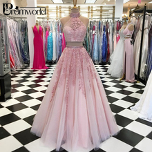 Two Pieces Pink Prom Dresses 2019 Ball Gown High Collar Appliques Lace Beaded Tulle Long Evening Party