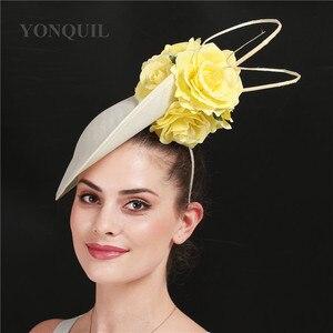 Image 5 - ゴージャスなkenducky大きな髪fascinatorsウェディングカクテル教会帽子エレガントな女性fedoraの女性ファンシー素敵なバラの花の帽子