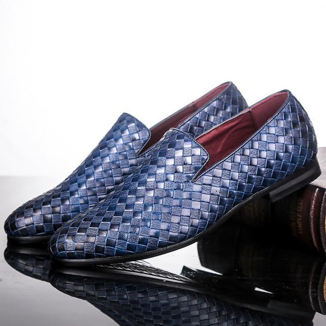Merkmak zapatos de hombre modelo trenza cuero conducción Casual Oxfords zapatos hombres mocasines zapatos italianos para hombres planos