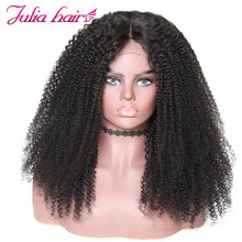 Ali Julia Hair Afro Kinky Curly Hair 360 Lace Front Wig Brazilian Remy Human Hair Wigs For Women 150% 180% Density(China)