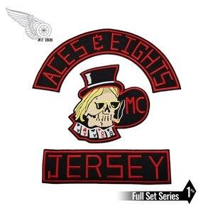 Chegada nova mc aces eights camisa bordado remendo motocicleta clube colete outlaw motociclista jaqueta de ferro no remendo frete grátis