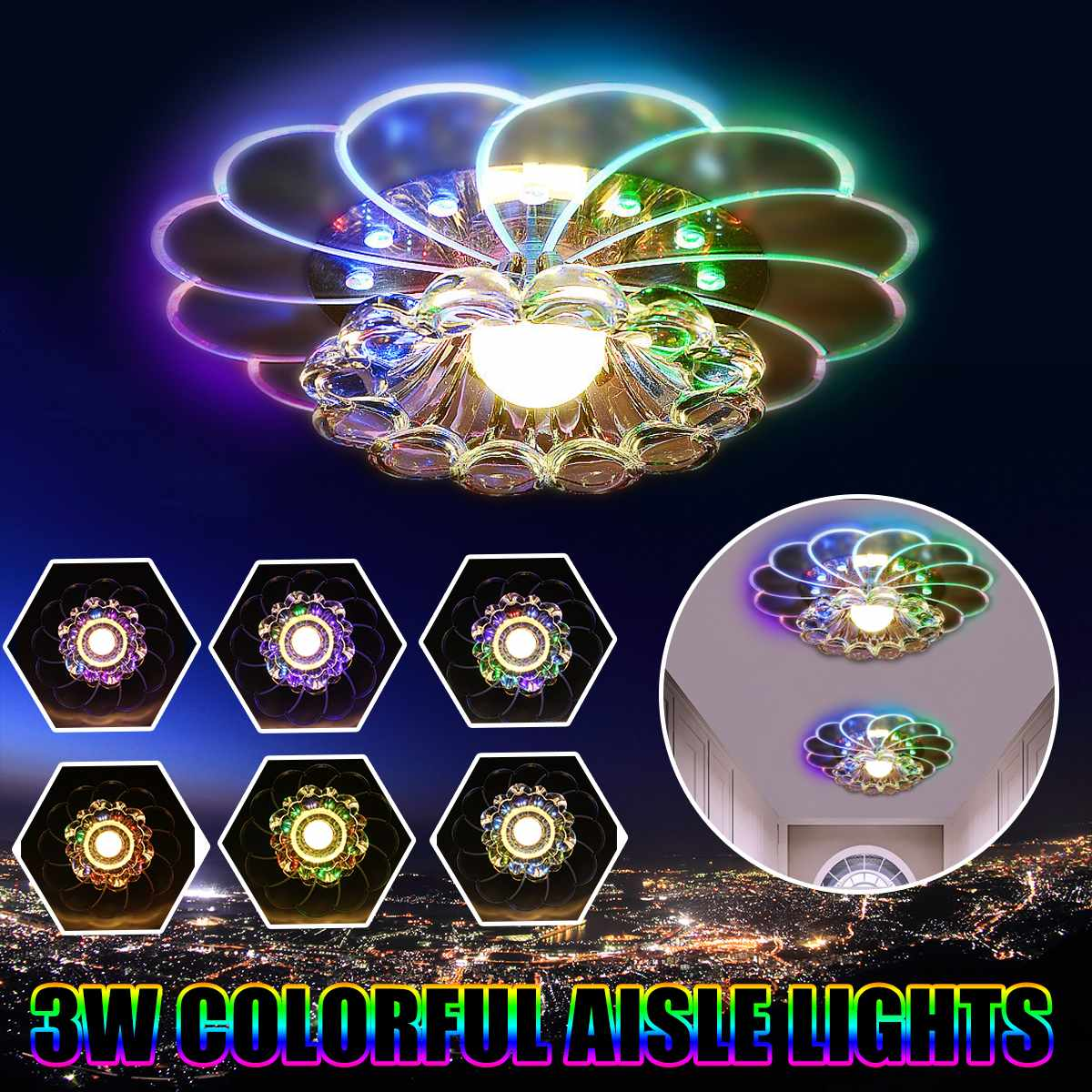 LED Ceiling Light Lamps Colorful Crystal Flower For Living Room Porch Lighting Ceiling Light Fixtures 3W
