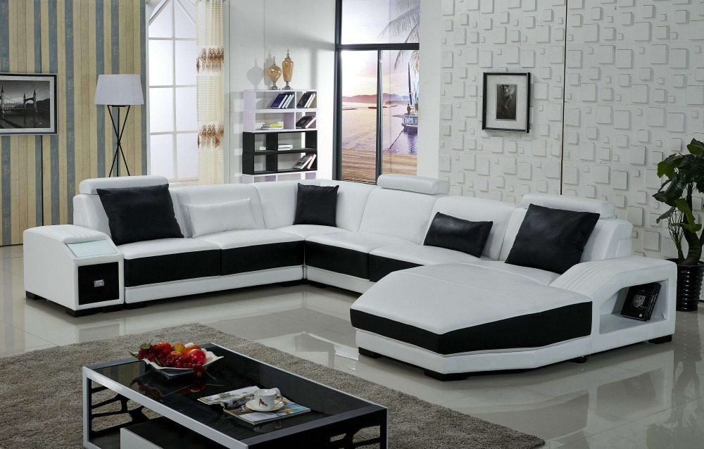 first grade leather sofa designs for living room-in Living