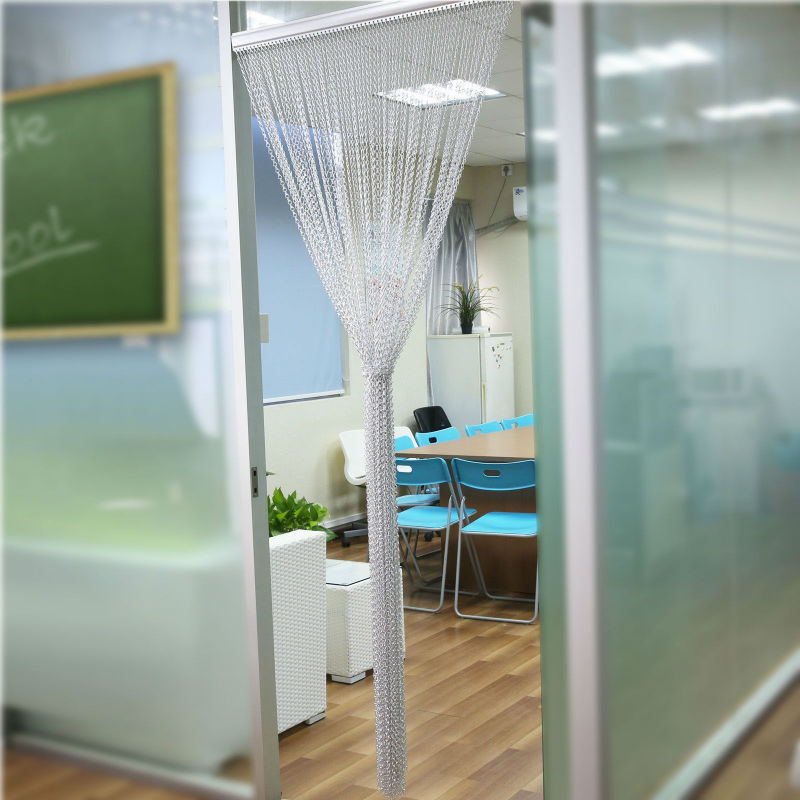 Door Windows Aluminium Chain Curtain Metal Screen Fly Insect Blinds Pest Control, Silver 1000mm weight X 2400mm height