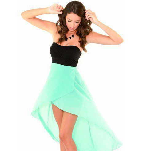 Black Green Strapless High Low Chiffon Bridesmaid Dresses Short Party Maid Of Honor Above Knee