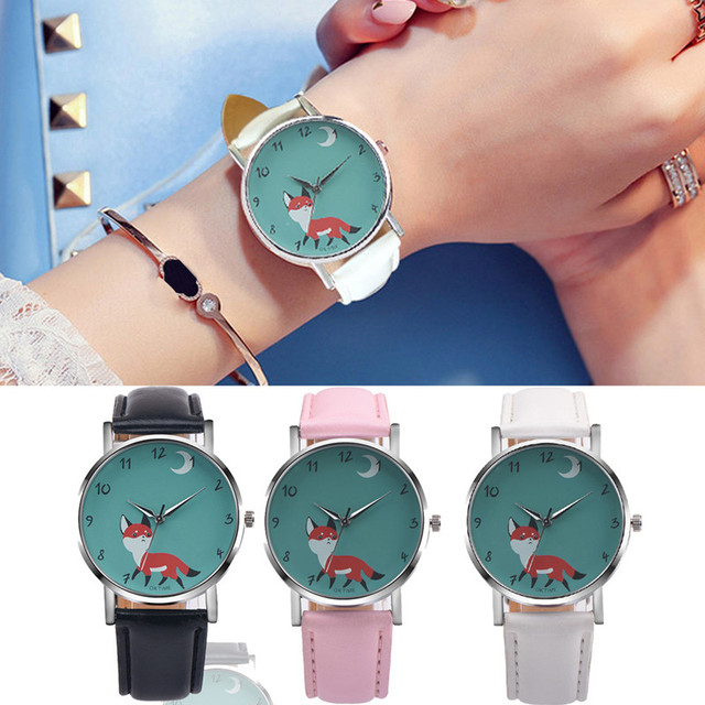 c758e7f1586 Carto Menina Raposa Mulheres Relógios Relogio feminino Moda Elegância Das  Senhoras de Pulso de Quartzo Relógio