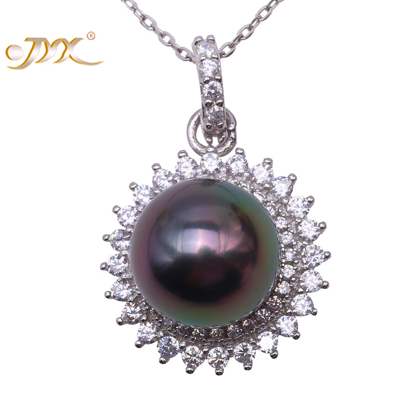 JYX 10.0 Black Tahitian Pearl Pendant Necklace South Sea Cultured Pendant in 925 Sterling Silver with Zircon 18 inches jyx pearl silver 925 jewelry genuine 12 5mm oval golden south sea cultured pearl 925 pendant necklace in sterling silver 18