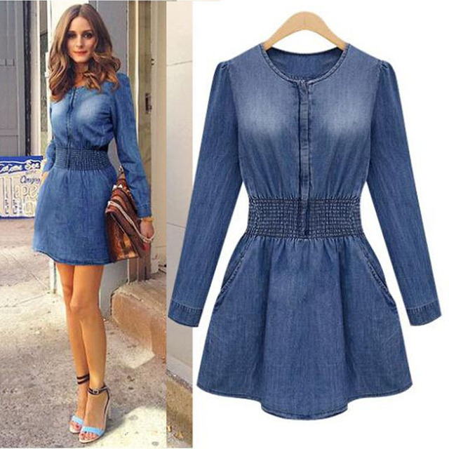 dd2be67fb1 2017 new fashion women denim dress long sleeve slim jeans women spring dress  sexy vestidos women dresses plus size 2xl XB276