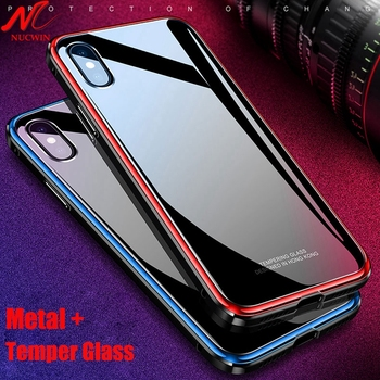 NUCWIN Metal Case for iPhone Xs Max Xr X Aluminun Temper Glass Back 3 in 1 Hybrid Heavy Duty Cover for iPhone X 7 8 6 6S Plus 8+ iPhone XS