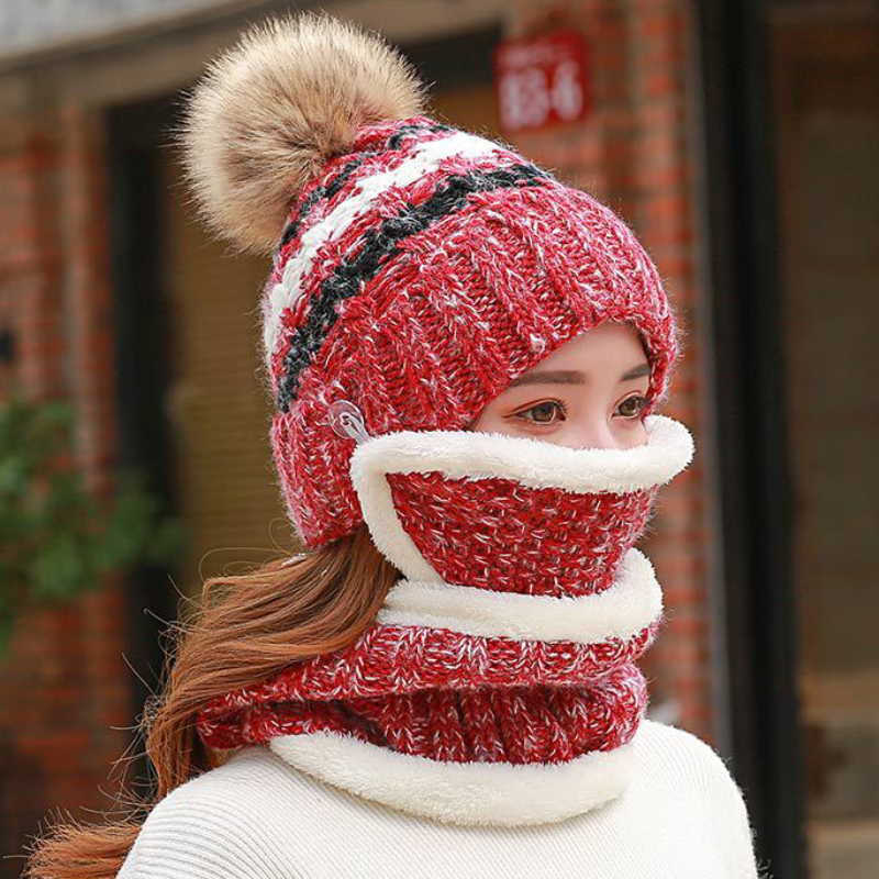 HT2137 Knitted Winter Mask Hat Scarf Set Women Thick Pompom Beanies Ring Scarf Warm Wool Winter Accessories For Women Winter Set