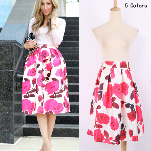 Saia floral print 2015 casual women midi skirt elegant blackwhite saia floral print 2015 casual women midi skirt elegant blackwhite pleated skirt female fluffy skirt fashion womens clothing in skirts from womens mightylinksfo