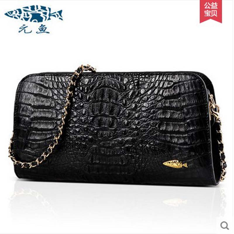 yuanyu New crocodile inclined shoulder bag lady crocodile leather shoulder bags grain fashion chain bag package delin foreign female bag bag handbag shoulder aslant crocodile grain lady handbags package a undertakes the new trend