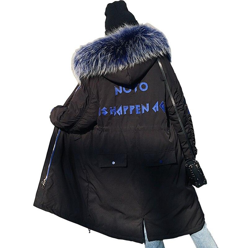 Winter   Down   Jacket Women Real Raccoon Fur Collar White Duck   Down     Coat   2019 Winter Long Hooded Parka Embroidery Women   Down   Jacket