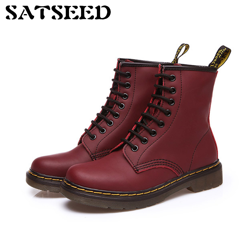 Boots Autumn Winter Flat Low British Martin Women's Genuine Leather Shoe Laces Female Lovers Short Round Toe Motorcycle Boots 2017 winter new british bullock women martin boots female short boots low head sleeve knight women boots