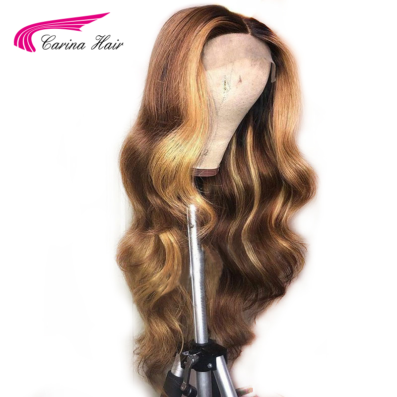 Carina Ombre Lace Front Human Hair Wigs With Baby Hair Body Wavy Remy Hair Brazilian Lace Front Wigs 130 Density With Highlight