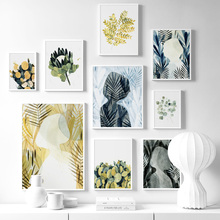 Wall Art Canvas Painting Flower Cactus Leaf Plant Girl Nordic Posters And Prints Abstract Wall Pictures For Living Room Decor abstract girl line drawing plant leaf wall art canvas painting nordic posters and prints wall pictures for living room decor