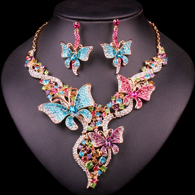 Indian Bridal Jewelry Sets Wedding Necklace Earring Sets For Brides Party Elegant Costume Dresses Accessories Gifts