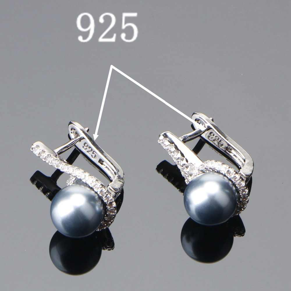 925 Sterling Silber Braut Perle Schmuck Sets Ohrringe Für Frauen Hochzeit Schmuck Zirkon Stein Perle Ring Anhänger Halsketten Set