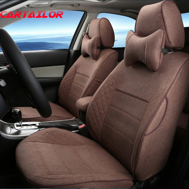 CARTAILOR Custom Fit Seat Covers for Peugeot 308 SW Car Accessories For Cars Seat Protector Flax Cover Seat Cushion Support Grey