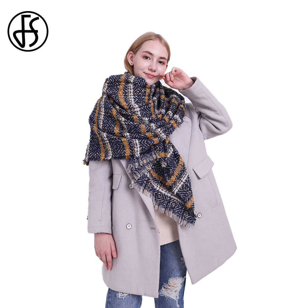 6faeca653 FS Brand High Quality Women Winter Scarf Fashion Striped Yellow Red Cape  Thick Warm Shawls And