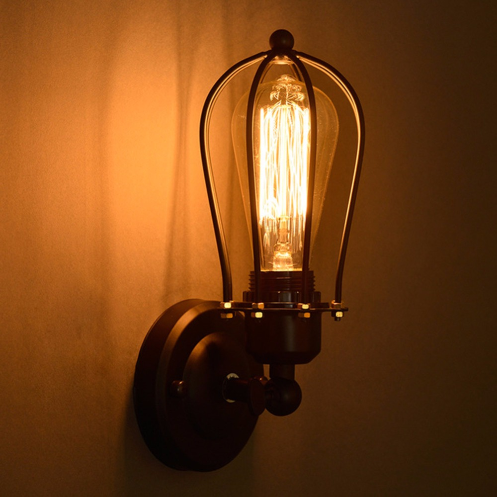 1 Bulb+Nordic Retro Wall Lamp Bedside Light Wrought Iron Lamps Shade American Country Style Restaurant Bar Industrial Warehouse american country industrial retro bar cafe wall lamp wall lamp iron double balcony aisle