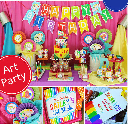 Art Birthday Party Banner Cupcake Toppers Artist Rainbow Decorations Supplies