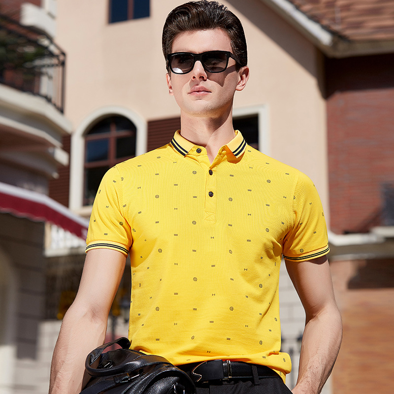 FGKKS Brand Men's   Polo   Shirt 2019 Summer Cotton Small Pattern Men's   Polo   Shirt Business Casual Male   Polo   Shirts
