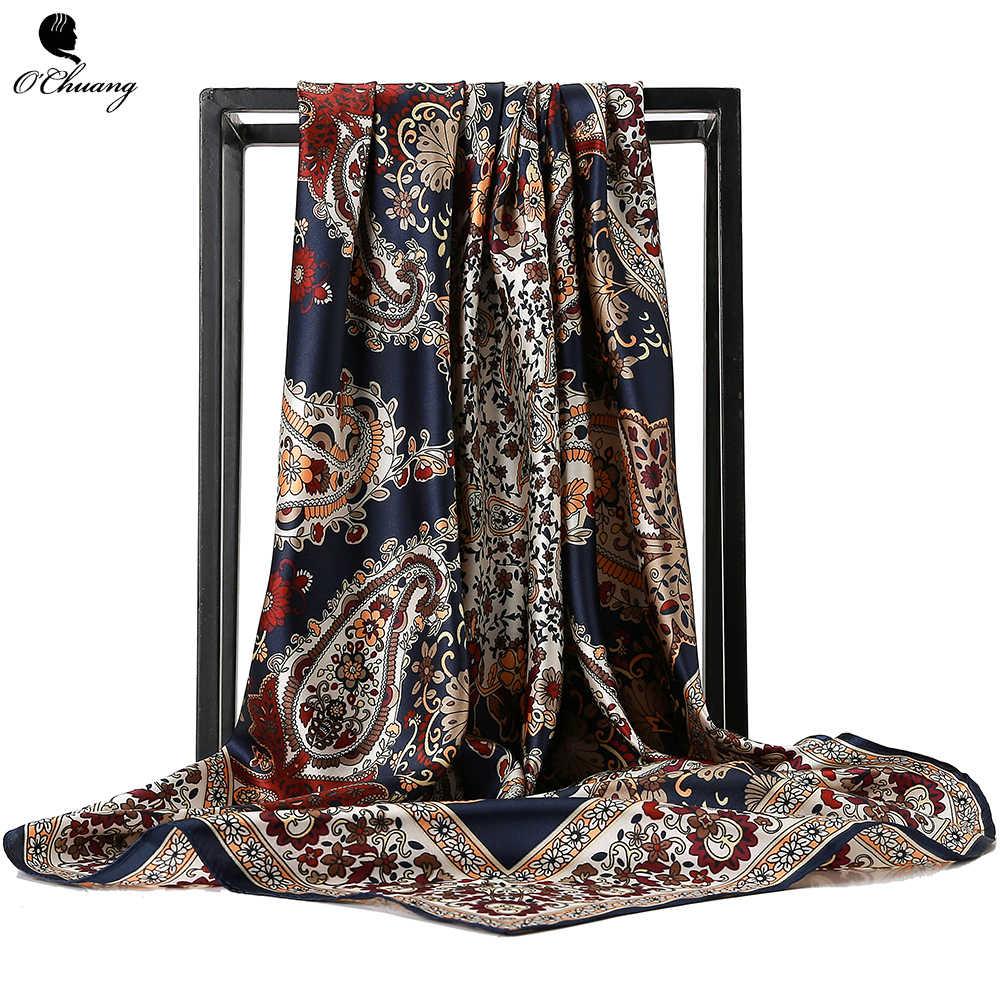 O CHUANG Moda Lenço de Seda Foulard Xale De Cetim Lenços Tamanho Grande 90*90cm Quadrado de seda Do Cabelo/Cabeça lenços Mulheres bandana