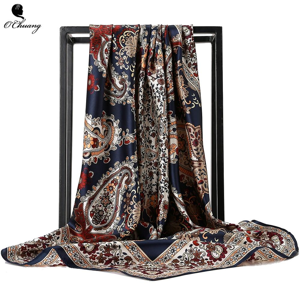 O CHUANG Silk Scarf Fashion Foulard Satin Shawl Scarfs Big Size 90*90cm Square silk Hair / Head Scarves Women bandana(China)