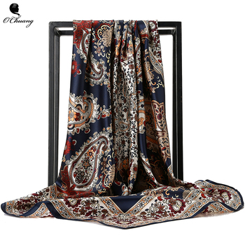 O CHUANG Silk Scarf Fashion Foulard Satin Shawl Scarfs Big Size 90*90cm Square silk Hair / Head Scarves Women bandana chuang code 30ml