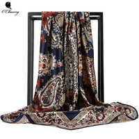 O CHUANG Silk Scarf Fashion Foulard Satin Shawl Scarfs Big Size 90*90cm Square silk Hair / Head Scarves Women bandana