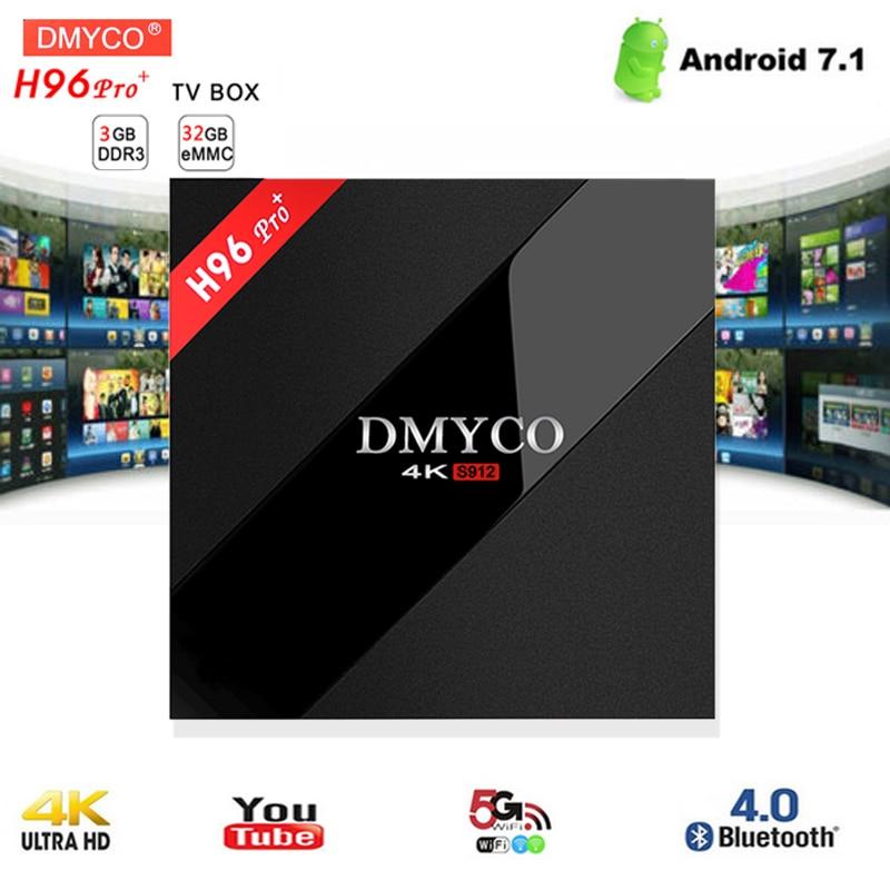 цена на H96 Pro+4K HD android 7.1 smart tv box Amlogic S912 Octa Core 3G 32G 64bit Bluetooth 4.1 wifi BT4.1 media player set top box
