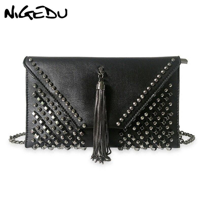 b57c87cbd0ec NIGEDU Punk rivet Women envelope clutch bag chain tassel women messenger bag  female Crossbody bag luxury