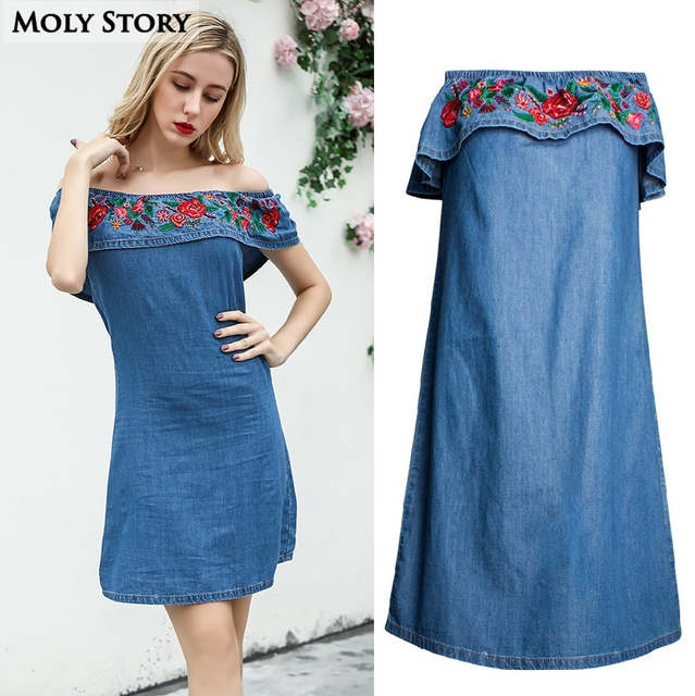 US $25.25  Ruffle Flower Embroidery Off Shoulder Denim Dress Blue Plus Size  Strapless Jean Dresses Straight Robe Femme-in Dresses from Women\'s ...