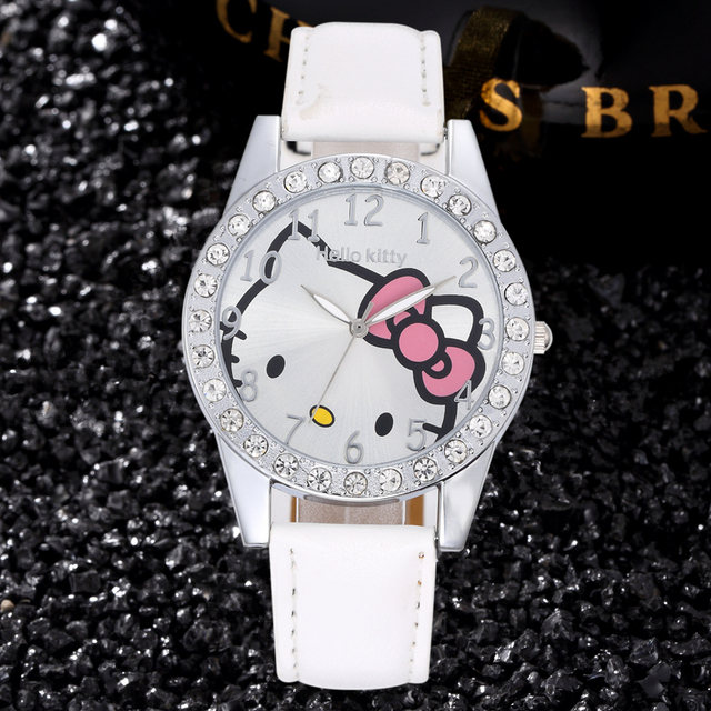 21e7438bfc2 Olá Kitty Meninas Vestir Relógio de Diamantes de Luxo Casual Relógio de  Couro Bonito Do Bebê