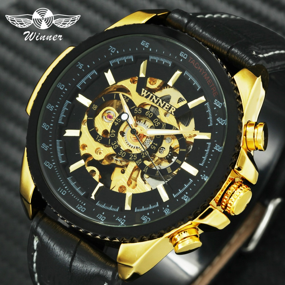WINNER Golden Skeleton Automatic Watches for Men 3D Dial Leather Strap Top Brand Luxury Mechanical Wristwatches Royal Male Clock