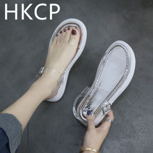 HKCP Sandals women 2019 a new line of fairy wind student flat flats with transparent summer peep-toe beach shoes C096